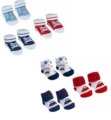 New Born Boys Boots Design Socks Size: 0/6, 6/12 months in a Bag with Gift
