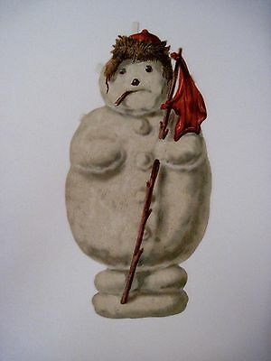 Vintage Victorian Christmas Die Cut of Snowman w/ Stooge Hanging out of Mouth  *