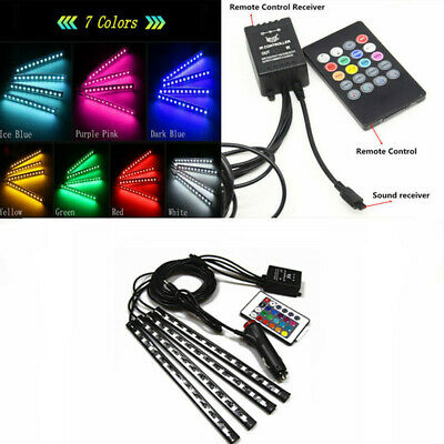 Wireless Remote Control 12 LED Colorful Car Footwell Interior Decor Lights Strip