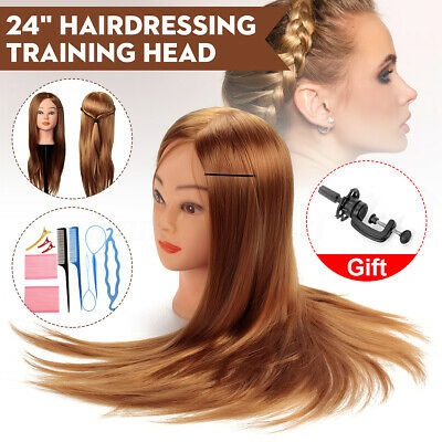 24'' Human Hair Training Practice Head Mannequin Hairdressing + Braid Tool Set
