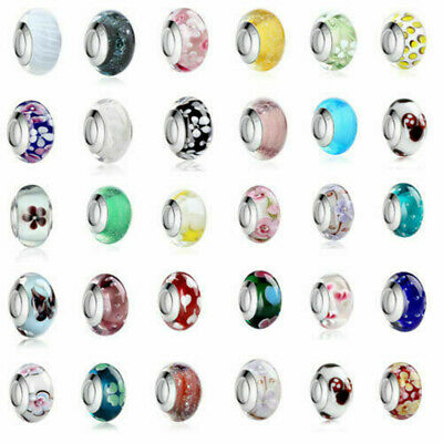 2pcs Silver Plated Murano Glass Bead Opotinal Colour European Charm fit bracelet