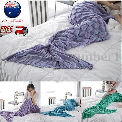 AU Super Soft Hand Crocheted Knitting Mermaid Tail Sofa Blanket Bag Kids Adult
