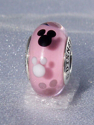 Sterling Silver EURO Charm Pink Mickey Mouse Murano Glass + FREE Pandora Cloth