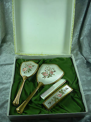 Wonderful Vintage English Embroidered 4 Piece Dressing Table Set  C 1950's