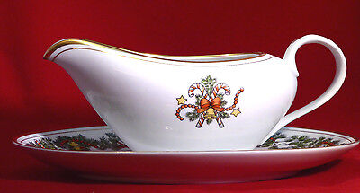 "Fitz and Floyd  ""St. Nicholas"" - Sauce/Gravy Boat and Underplate - New Condition"