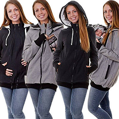 4 in1 Baby Carrier Jackets Kangaroo Zipper Loose Maternity Outerwear Coat Hooded