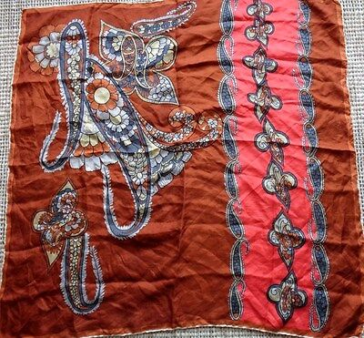 Vintage Paisley silk scarf with hand rolled edges