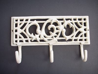 Vintage Cast Iron Vine Wall Mount 3 Hooks Hanger Plant Coat Metal Holder 10¾""