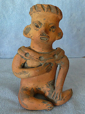 Pre-Columbian West Coast Mexico Clay Pottery Seated Ritual Figure
