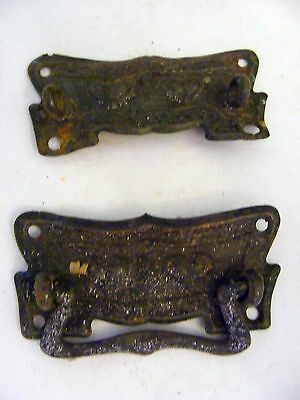 Lot of 2 Pressed Brass With Hearts Dresser Back Plates-1 Pull Missing - H0135