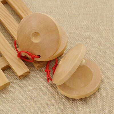 1 Pair Spanish Flamenco Castanets Wooden Percussion Musical Instrument Rhythm