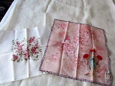 Vintage Japanese hand Print Pocket Square Hankie Geisha lot New Floral Pink Red