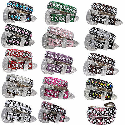 369-New_Girls Western Rhinestone Kids Childrens Western Bling Belts