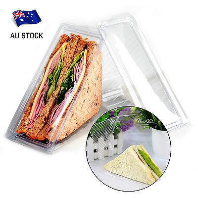 AU STOCK 100pcs Large Clear Plastic Sandwich Container Storage Triangle Wedge
