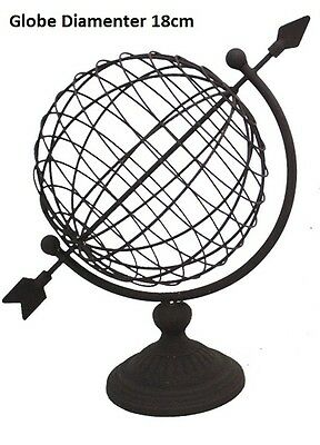 Vintage Metal World Globe Decorative Desktop Rotating Geography Globe 18cm