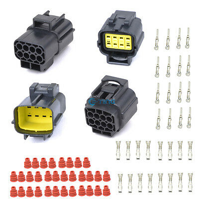 2x 8 Pin Way Waterproof Electrical Connector Wire Plug AWG Terminal Scokets ET