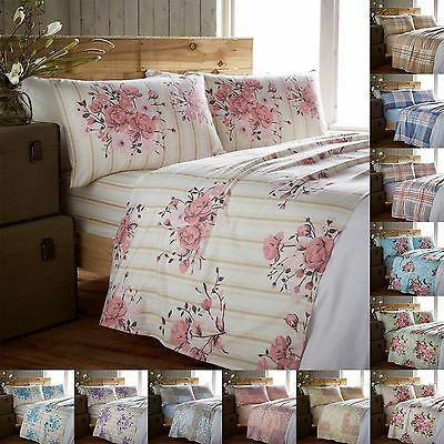 Flannelette Sheet Set Double King Size Single Brushed Cotton Fitted Flat Bedding