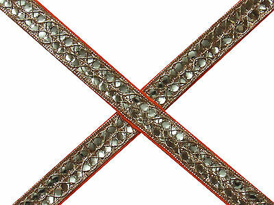 """1"""" W New Trim Ribbon Lace Sewing Mirror Sequins Craft Embroidered Fabric 9Yd"""