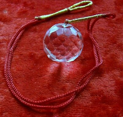 Feng Shui Faceted Natural Clear Quartz Hanging Sphere Gift Crystal Healing Reiki