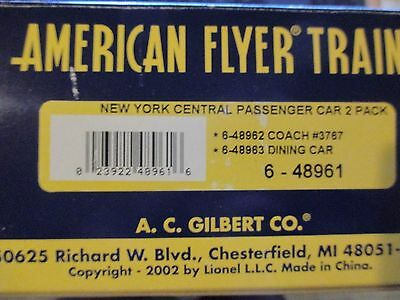 AMERICAN FLYER S GAUGE 6-48961 NEW YORK CENTRAL PASSENGER TWO PACK Free ship!