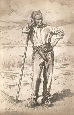 """""""Drawing of a poor farmer"""" Nice antique Spanish postcard, artist signed"""