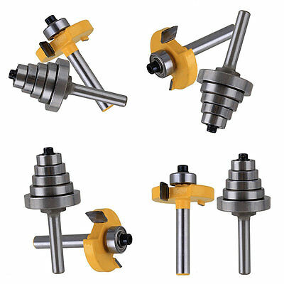 "2Pieces Cemented Carbide Rabbet Router Bit with 6 Bearing 1/4"" Shank Tool"