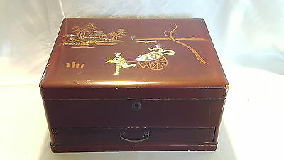 Japanese vintage Art Deco antique wood / lacquer jewellery / sewing box