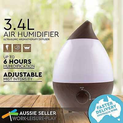 3.4L Air Humidifier Ultrasonic Cool Mist Purifier Aroma Diffuser Decor LED Wood