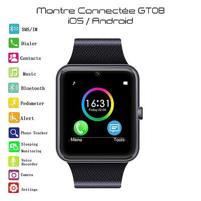 SmartWatch GT08 Montre connectée 2016 bluetooth iOS/Android (NOIRE) FRANCE