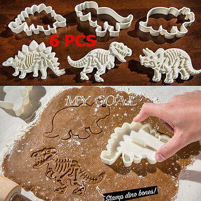 6PCS Plastic Dinosaur Cookies Cutter Mold Biscuit Pastry Cake Fondant Mould Tool
