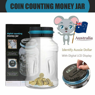 Money Saving Box Jar LCD Digital Electronic Counting Coin Bank Counter Bank AUD