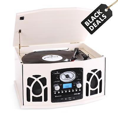 Hi Fi Cd Stereo Speaker System Vinyl Record Turntable Tape Deck Fm Radio Usb Sd