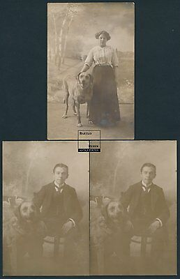 3 Fotos Berlin um 1920 Familie mit Hund im Atelier Girl & Guy w Dog best friend