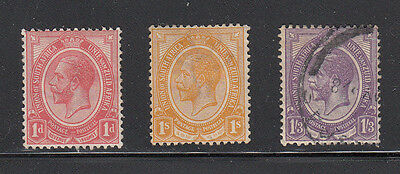 South Africa 1913 George V 1d (rose-red) & 1/- (orange-yellow) mint and 1/3 used