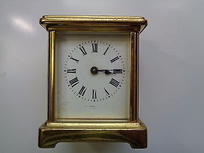 Old Antique Brass Carriage Mantel Clock 5 Pieces Glass Working