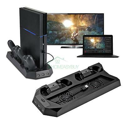 For PlayStation 4 PS4 Console Cooler with Charging Vertical Stand Cooling Fan