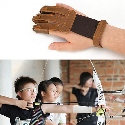 Archery Finger Protect Glove 3 Finger Pull Bow Arrow Leather Shooting Gloves NW