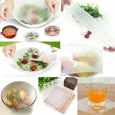 3/4/5pcs Reusable Silicone Wraps Seal Cover Stretch Cling Film Food Fresh Keep