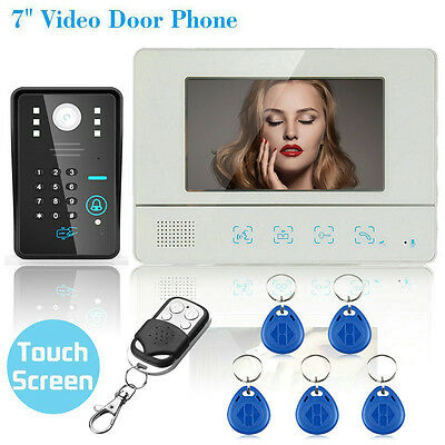 "7"" LCD Wired Touch Key Video Door Phone Doorbell Entry Intercom System IR Camera"