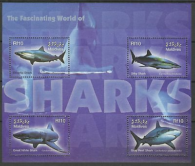 Maldives Poissons Requins Blanc White Sharks Fishes Haie Fische ** 2004 Bloc 15€
