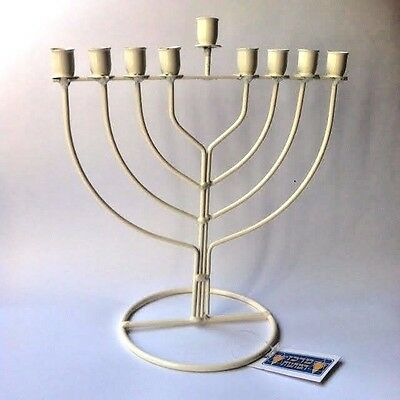 Hanukkah Menorah white iron Candle stand Tabletop Candle Holder Made in Israel
