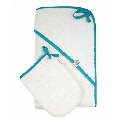 ImseVimse Hooded Towel and Mitten Set Blue