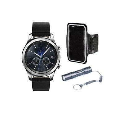 Samsung Gear S3 SM-R770 Classic Bluetooth Smartwatch Black Leather + Armband