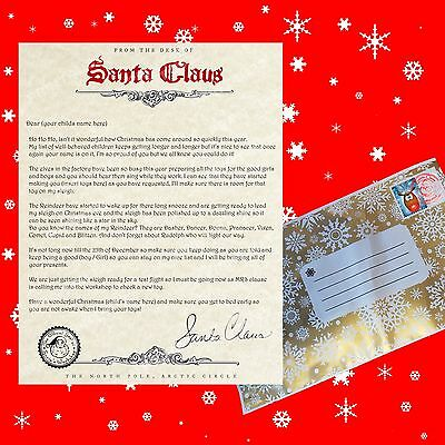 Letter from santa printed on textured paper inc christmas envelope and stamp