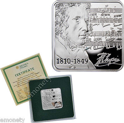2010 Niue FREDERIC CHOPIN Silver Proof Coin $1 Year for Music lovers + FREE GIFT