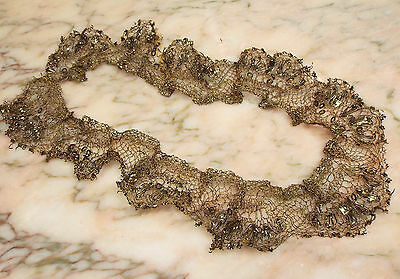 18th Century French Gold Metallic Lace Trim Spangles Passementerie