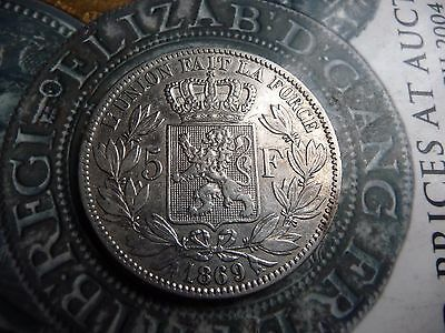 belgium 1869 5 franc large .900 solid silver coin