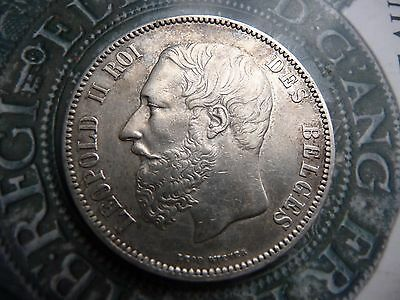 belgium 1873 5 franc large .900 solid silver coin high grade