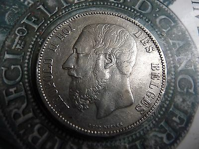belgium 1873 5 franc large .900 solid silver coin l2