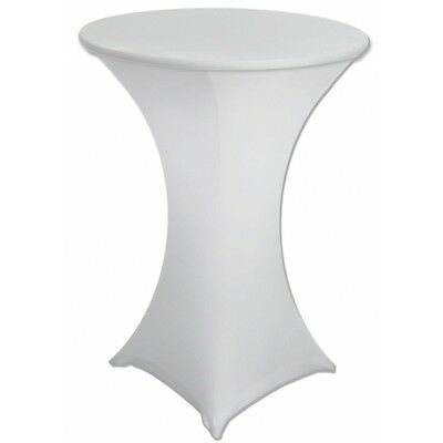 5 x White Lycra Spandex Stretch Fitted Cocktail Dry High Bar Table Cloth Cover
